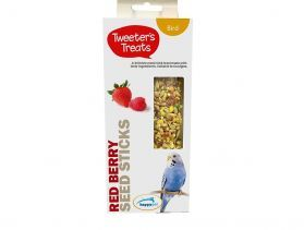 Tweeter's Treats Seed Sticks for Budgies - Red Berry - Pack of 2