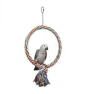 Large Parrot Single Coloured Rope Hoop Toy